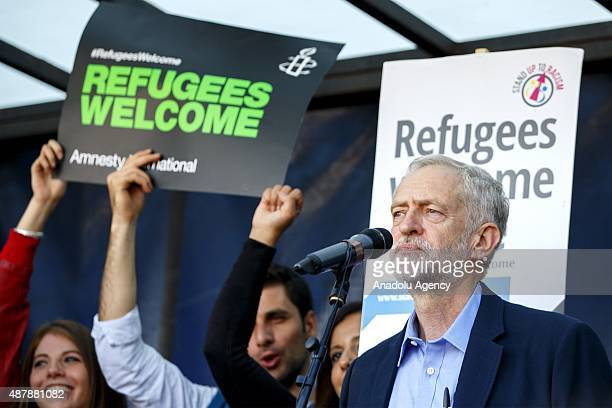 Newly elected Labour Party leader Jeremy Corbyn attending a prorefugee march in London England on September 12 2015 Prorefugee demonstrators demand...