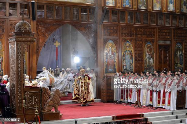 Newly elected leader of Egypt's Coptic Christian Pope Tawadros II Head of the Egyptian Coptic Orthodox Church leads the Coptic Christmas midnight...