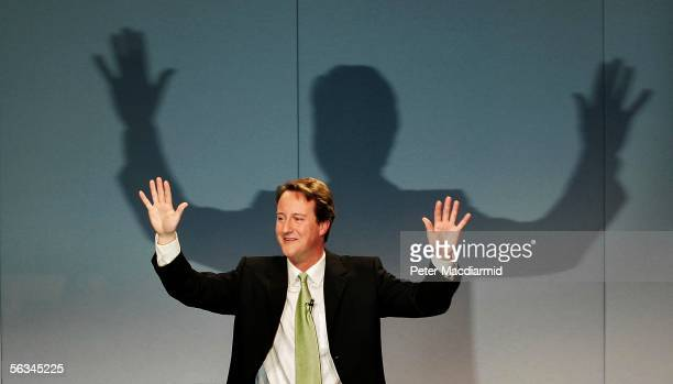 Newly elected leader of the Conservative Party David Cameron gestures during his acceptance speech on December 6 2005 in London The 39yearold beat...