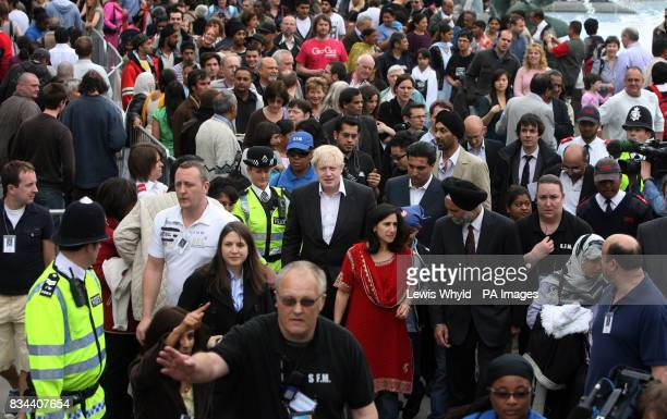 Newly elected London Mayor Boris Johnson with his wife Marina Wheeler in Trafalgar Square central London during the Sikh New Year Festival...