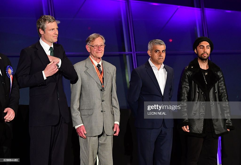Newly elected London Mayor Sadiq Khan (2nd R) is pictured as it is announced that he has won the election at City Hall in central London on May 7, 2016. London became the first EU capital with a Muslim mayor Friday as Sadiq Khan won the election that saw his opposition Labour party suffer nationwide setbacks. / AFP / LEON