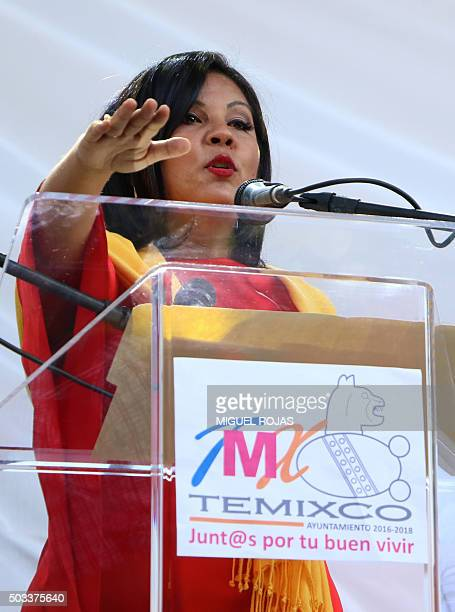 Newly elected mayor Gisela Mota speaks during her installation ceremony in Temixco Morelos state Mexico on January 1 2016 The Mexican drug cartel...