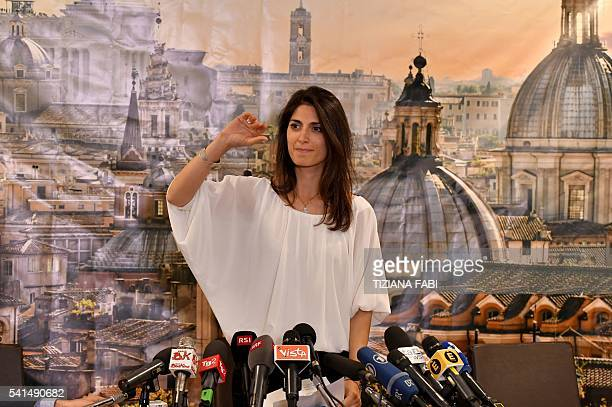 Newly elected mayor of Rome Five Star Movement's candidate Virginia Raggi gives a press conference after winning the mayoral election on June 19 2016...
