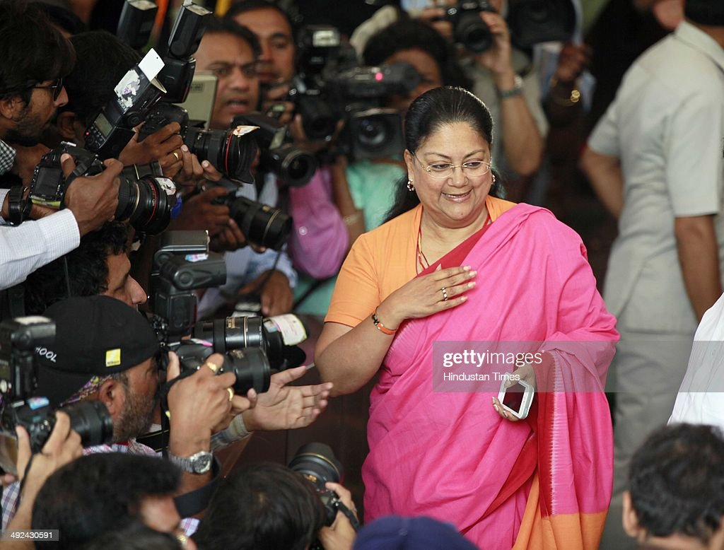 Newly elected member of Parliament Vasundhara Raje Scindia after the BJP Parliamentary party meeting at Parliament House on May 20 2014 in New Delhi...