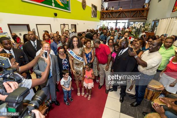 Newly elected Miss France 2017 Alicia Aylies is welcomed at the hotel of the Territorial Collectivity in Cayenne on the French department of Guiana...