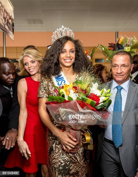 Newly elected Miss France 2017 Alicia Aylies next to Miss France Society President and Miss France 2002 Sylvie Tellier and French Guyana Territorial...