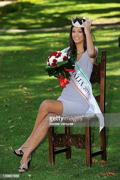 Newly elected Miss Italia 18yearold Stefania Bivone attends the photocall during the 2011 Miss Italia Beauty Pageant at the Terme Tettuccio on...