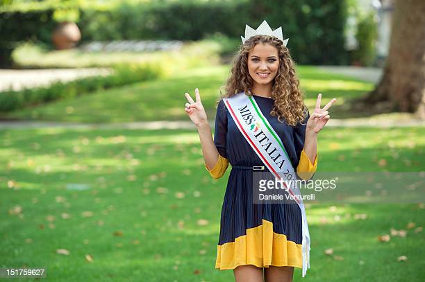 Newly elected Miss Italia 19yearold Giusy Buscemi poses at the photocall during the 2012 Miss Italia Beauty Pageant at the Terme Tettuccio on...