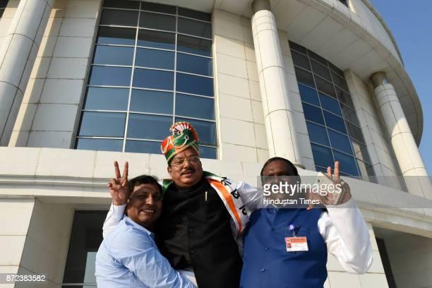 Newly elected Navi Mumbai Mayor Jaywant Sutar at NMMC Head office CBD Belapur on November 9 2017 in Mumbai India The Nationalist Congress Party...