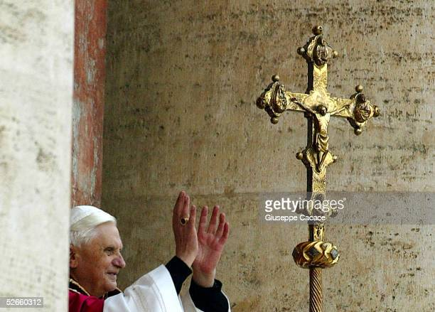 Newly elected Pope Benedict XVI appears on the central balcony of St Peter's Basilica on April 19 2005 in Vatican City German Cardinal Joseph...