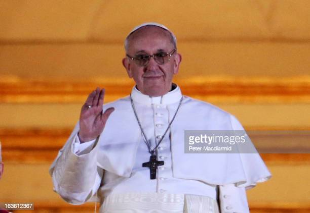 Newly elected Pope Francis I appears on the central balcony of St Peter's Basilica on March 13 2013 in Vatican City Vatican Argentinian Cardinal...