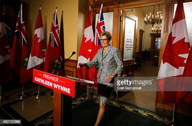 Newly elected Premier Kathleen Wynne speaks to the media outside her office in Queens Park for the first time since last night's majority vote...
