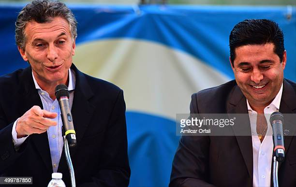 Newly elected president of Argentina Mauricio Macri talks to the audience during a ceremony to honor newly elected President of Argentina Mauricio...