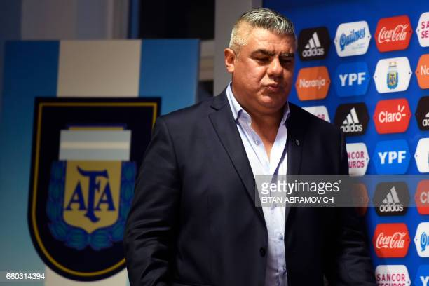 Newly elected President of Argentina's Football Association Claudio Tapia arrives for a press conference in Ezeiza Buenos Aires on March 29 2017 /...