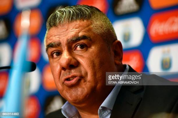 Newly elected President of Argentina's Football Association Claudio Tapia speaks during a press conference in Ezeiza Buenos Aires on March 29 2017 /...
