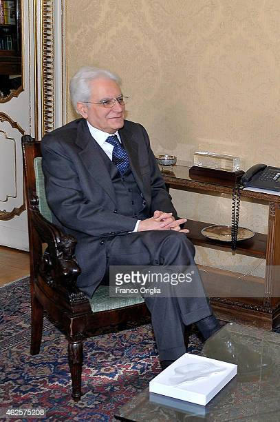 Newly elected President of Italy Sicilian judge Sergio Mattarella is greeted from president of the Parliament Laura Boldrini at the Constitutional...