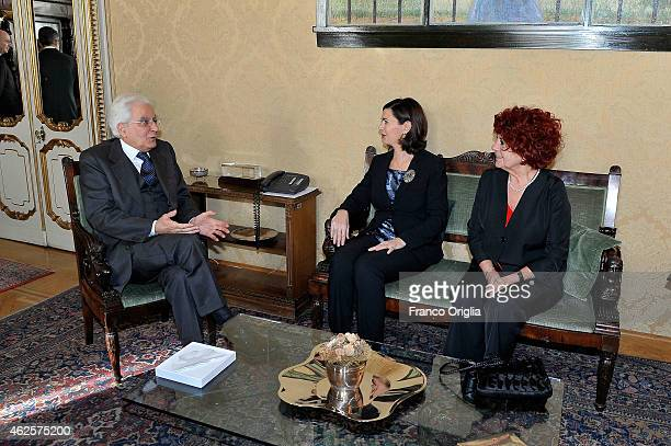 Newly elected President of Italy Sicilian judge Sergio Mattarella sits next to the president of the Parliament Laura Boldrini and the vicepresident...