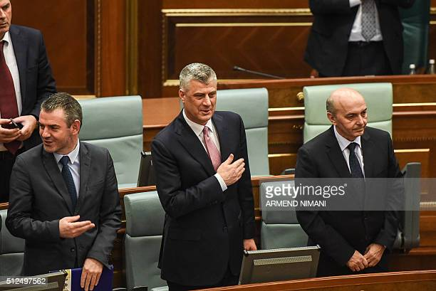 Newly elected President of Kosovo Hashim Thaci reacts during an extraordinary session in Pristina on February 26 2016 Kosovo MPs elected foreign...
