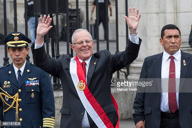 Newly elected President of Peru Pedro Pablo Kuczynski greets supporters after the swearing in ceremony at Palacio de Gobierno on July 28 2016 in Lima...