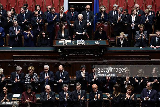 Newly elected President of Republic Sergio Mattarella delivers his first speech to the Italian parliament at Palazzo Montecitorio on February 3 2015...