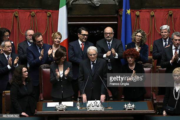 Newly elected President of Republic Sergio Mattarella flanked by President of the Chamber of Deputies Laura Boldrini delivers his first speech to the...