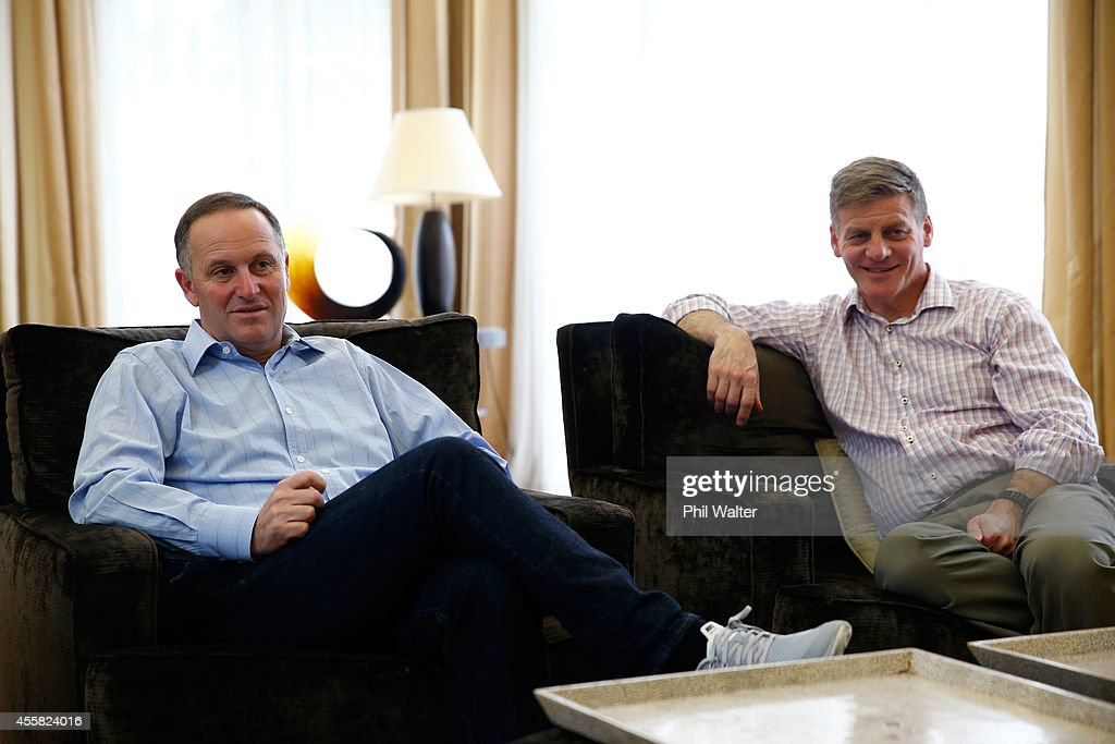 Newly elected Prime Minister John Key and Deputy Prime Minister Bill English chat in the living room of the Prime Ministers house on September 21...