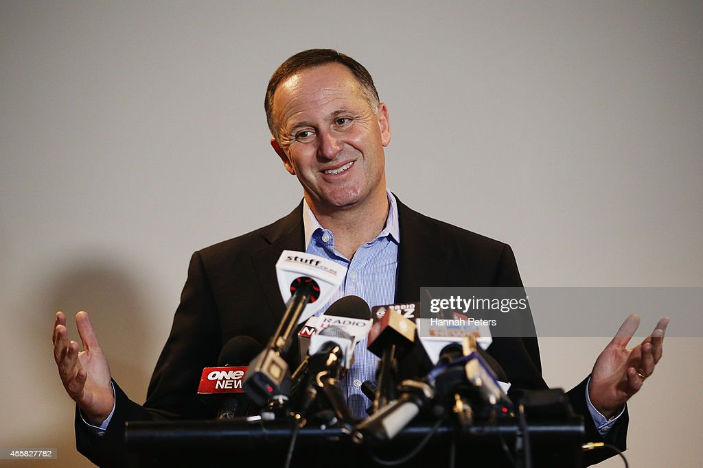 Newly elected Prime Minister <a gi-track='captionPersonalityLinkClicked' href=/galleries/search?phrase=John+Key&family=editorial&specificpeople=2246670 ng-click='$event.stopPropagation()'>John Key</a> speaks to the media on September 21, 2014 in Auckland, New Zealand. Last night, National Party leader <a gi-track='captionPersonalityLinkClicked' href=/galleries/search?phrase=John+Key&family=editorial&specificpeople=2246670 ng-click='$event.stopPropagation()'>John Key</a> was re-elected as the 39th Prime Minister of New Zealand after defeating Labour opposition leader David Cunliffe in the New Zealand general election.