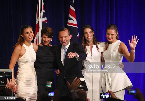 Newly elected Prime Minister Tony Abbott flanked by his family from left daughter Frances wife Margie daughters Louise and Bridget on September 7...