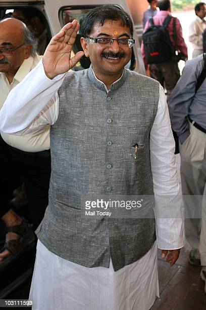 Newly elected Rajya Sabha MP Tarun Vijay at the parliament house at the first day of the monsoon session in New Delhi on July 26 2010
