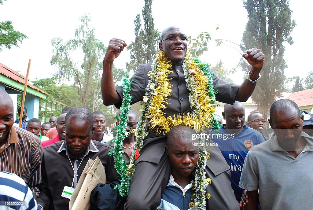 Newly elected Senator of Kakamega County, Boni Khalwale, celebrates his victory with supporters on March 6, 2013 in Kakamega Town, Kenya. This is the first General Election under the new constitution enacted in 2010.