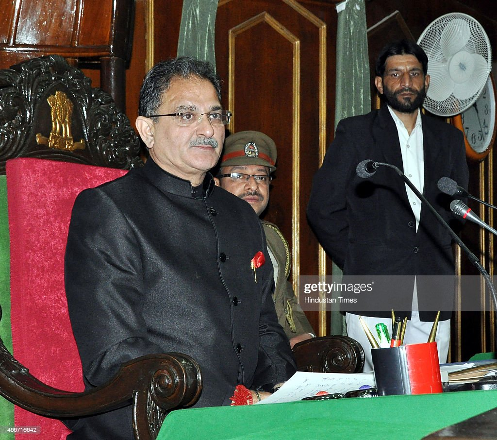 Newly elected speaker Kavinder Gupta during a first day of budget session of Jammu and Kashmir legislator assembly on March 18, 2015 in Jammu, India. In his address to the Assembly Governor NN Vohra said that the PDP-BJP coalition government will initiate a meaningful dialogue with all political groups including the Hurriyat Conference and examine the need for de-notifying disturbed areas in Jammu and Kashmir.