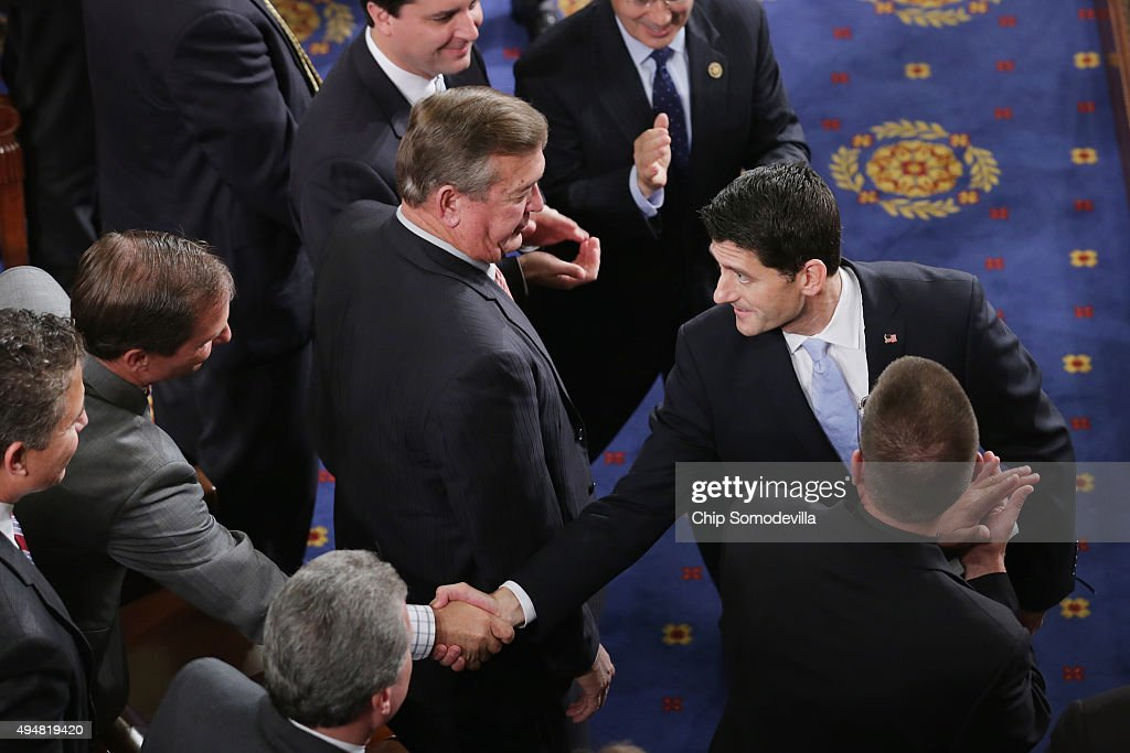 Newly elected Speaker of the House <a gi-track='captionPersonalityLinkClicked' href=/galleries/search?phrase=Paul+Ryan+-+Politician&family=editorial&specificpeople=7641535 ng-click='$event.stopPropagation()'>Paul Ryan</a> (R-WI) is congratulated by he fellow Congressmen in the House of Representatives chamber at the U.S. Capitol October 29, 2015 in Washington, DC. Ryan was elected the 62nd speaker of the House with 236 votes and will attempt to steer that chaotic legislative body following the resignation of former Speaker John Boehner (R-OH).