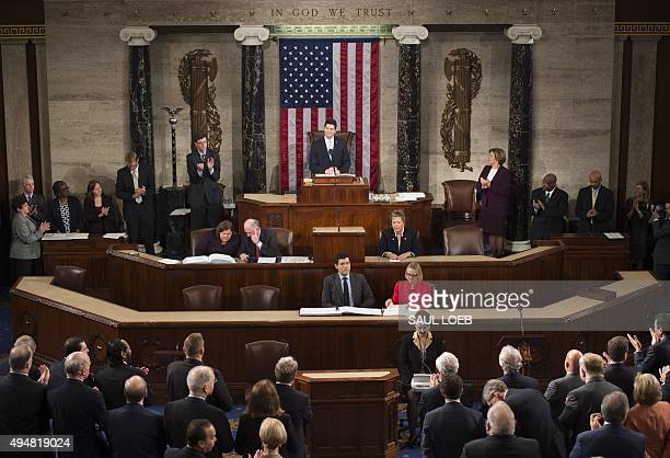 Newly elected Speaker of the House Paul Ryan Republican of Wisconsin speaks in the House Chamber at the US Capitol in Washington DC October 29 2015...