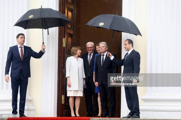 Newly elected state German President FrankWalter Steinmeier and partner Elke Buedenbender bid farewell to the outgoing President Joachim Gauck and...