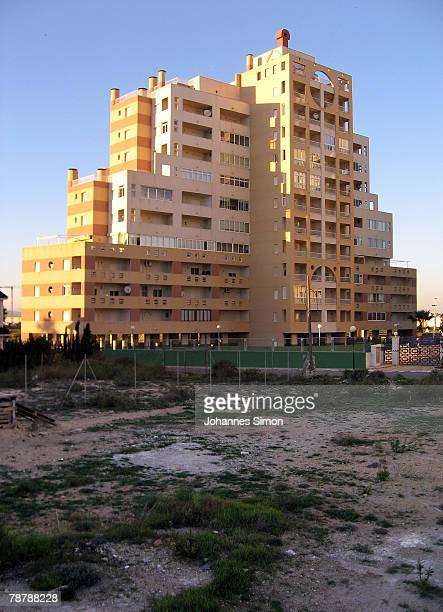 A newly erected apartment building is seen on February 12 2007 in Torrevieja Spain Over the past five years Spain has been building over 800000 homes...