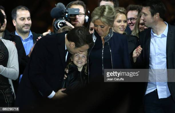 Newly French President elected Emmanuel Macron his wife Brigitte Macron her grand daughter Emma and her other daughter Tiphaine Auziere celebrate his...