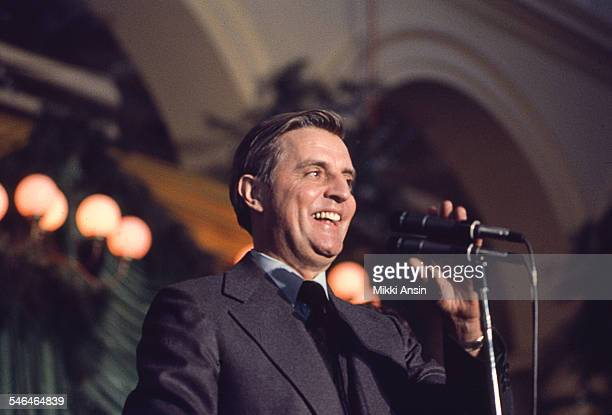 Newly inaugurated Vice President Walter Mondale addresses attendees at President Jimmy Carter's Inaugural Ball Washington DC January 20 1977