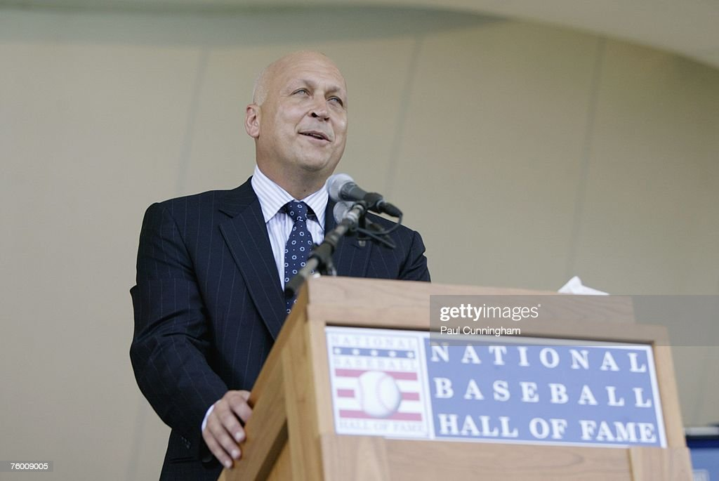 Newly inducted Hall of Famer, Cal Ripken Jr. delivers speech to audience during the Baseball Hall of Fame Induction Ceremonies at the Clark Sports Center in Cooperstown, New York on July 29, 2007.