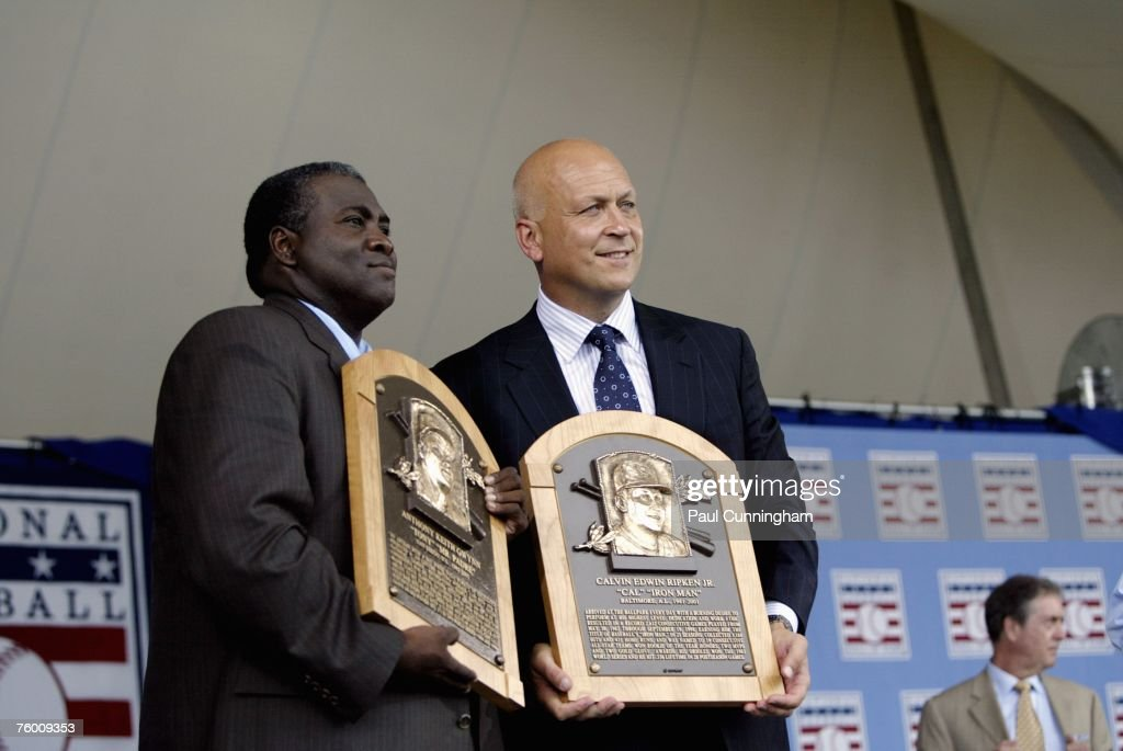 Newly inducted Hall of Famers, Tony Gwynn and Cal Ripken Jr. pose together with Hall of Fame plaques during the Baseball Hall of Fame Induction Ceremonies at the Clark Sports Center in Cooperstown, New York on July 29, 2007.