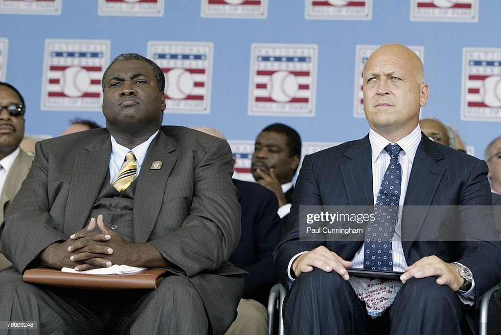 Newly inducted Hall of Famers, Tony Gwynn and Cal Ripken Jr. sit together on stage during the Baseball Hall of Fame Induction Ceremonies at the Clark Sports Center in Cooperstown, New York on July 29, 2007.