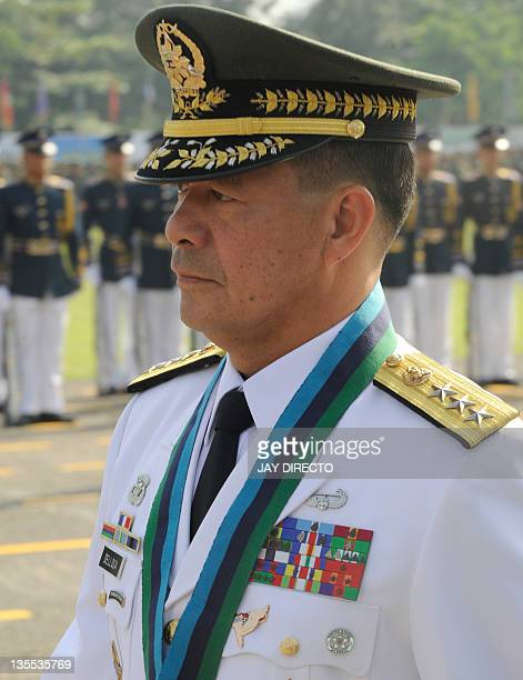 Newly installed armed forces chief of staff Major General Jessie Dellosa attends the turn over ceremonies at the military headquarters on December 12...