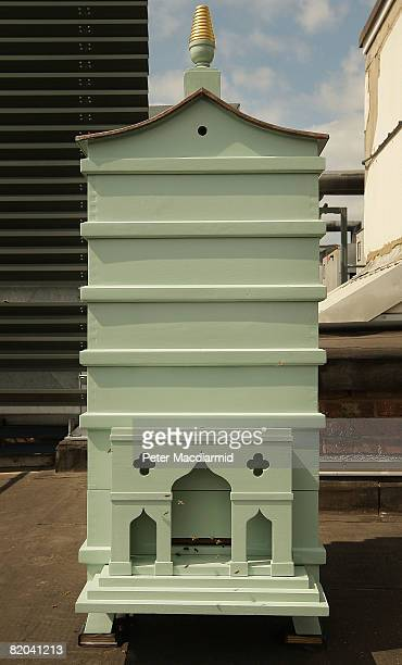 A newly installed behive sits on the roof at Fortnum and Mason on July 22 2008 in London Each hive currently contains 4000 Carnolian bees from the...
