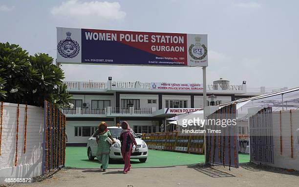 Newly launched Women Police station in sector51 on August 28 2015 in Gurgaon India On the eve of 'Raksha Bandhan' Haryana Chief Minister Manohar Lal...