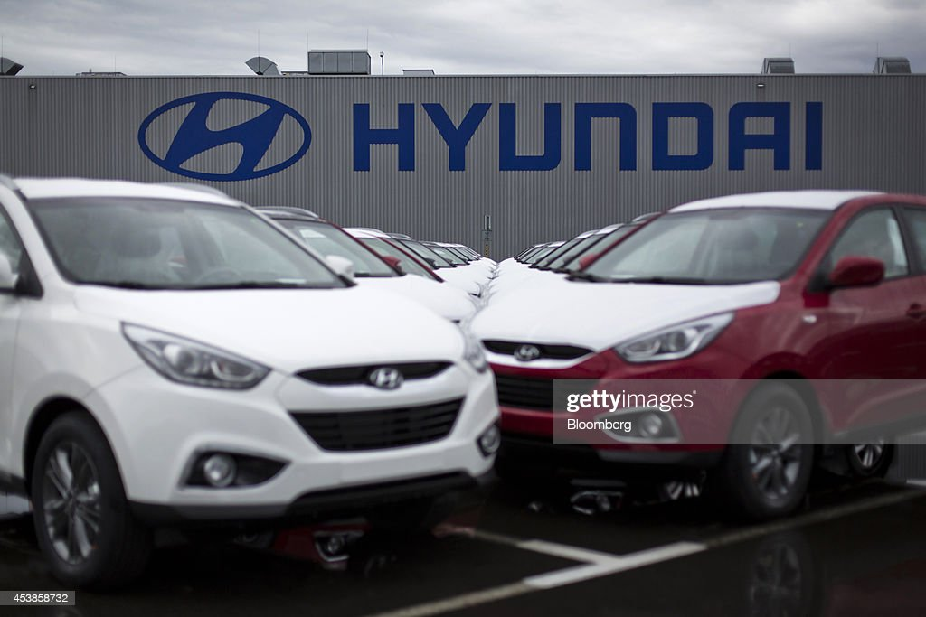 Stand in a parking lot ahead of shipment at hyundai motor co