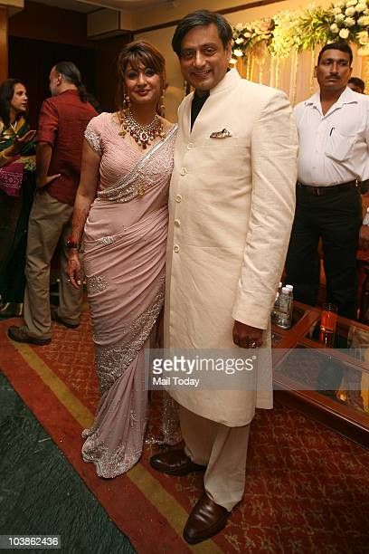 Newly married Congress MP Shashi Tharoor and his wife Sunanda Pushkar at their reception in New Delhi on Friday September 3 2010