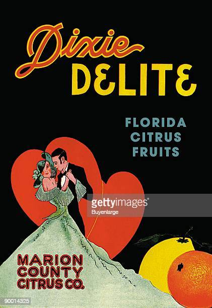A newly married couple dance in front of a large heart for a lemon and orange crate label from Florida Vegetable and Fruit crate labels were produced...