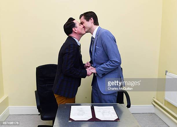 Newly married couple Richard Dowling and Cormac Gollogly kiss after the first ever same sex marriage takes place on November 17 2015 in Clonmel...