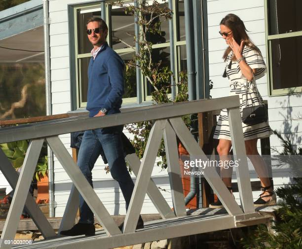SYDNEY NSW Newly married Pippa Middleton boards a seaplane after enjoying lunch with husband James Matthews at the Cottage Point Inn in Sydney New...