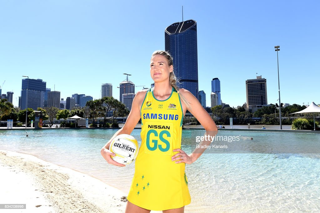Newly named captain Caitlin Bassett poses for a photo during a media opportunity announcing the Australia Diamonds captain for the upcoming Quad Series and Constellation Cup at Streets Beach on August 18, 2017 in Brisbane, Australia.