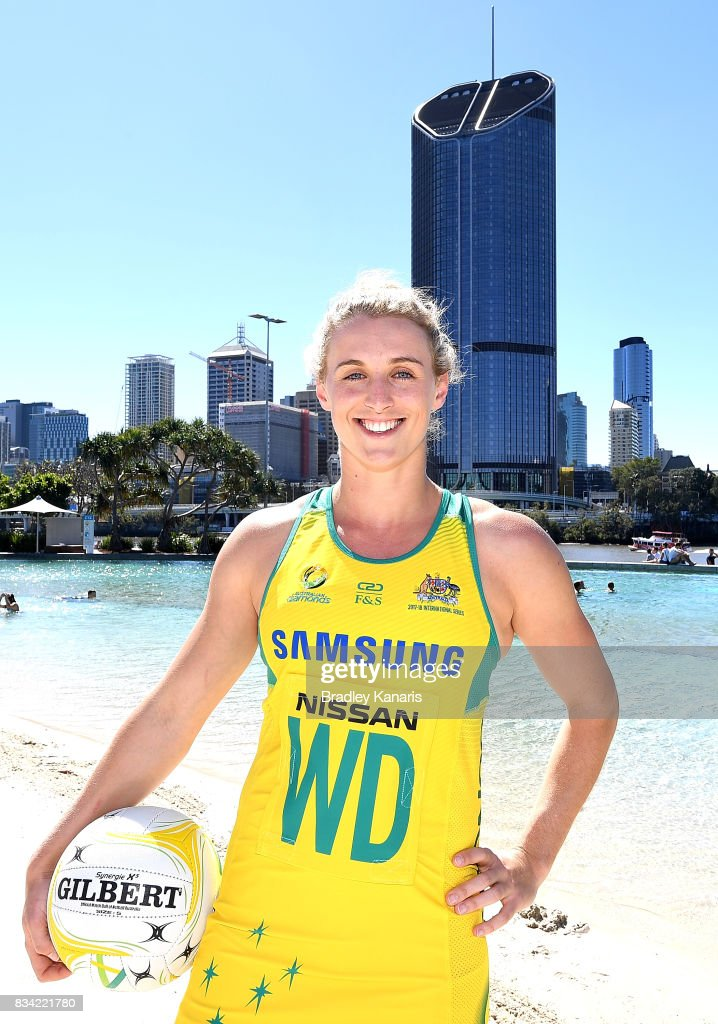 Newly named Co-Vice Captain Gabi Simpson poses for a photo during a media opportunity announcing the Australia Diamonds captain for the upcoming Quad Series and Constellation Cup at Streets Beach on August 18, 2017 in Brisbane, Australia.